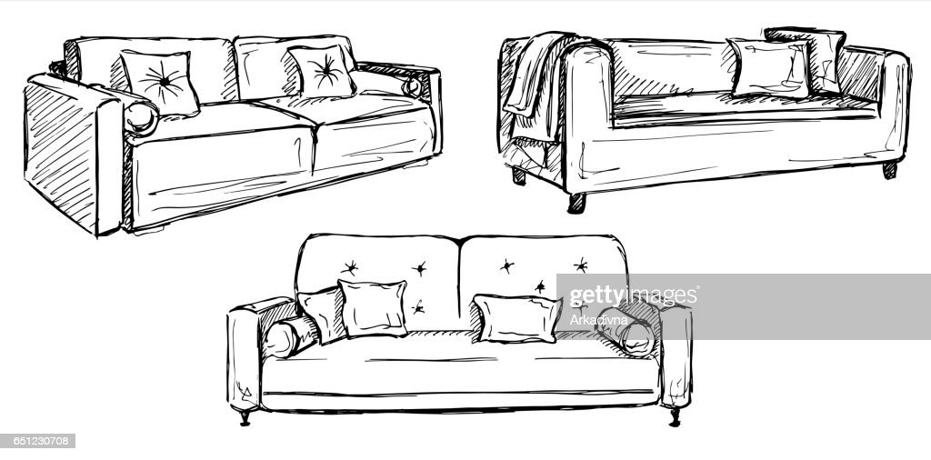 Three sofas isolated on white background.Vector illustration in a sketch style.