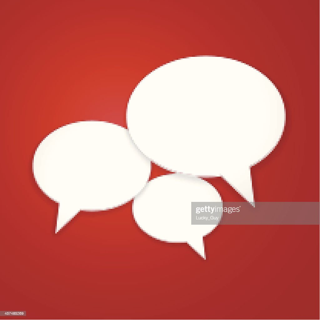 Three speech bubbles illustrated on a red background
