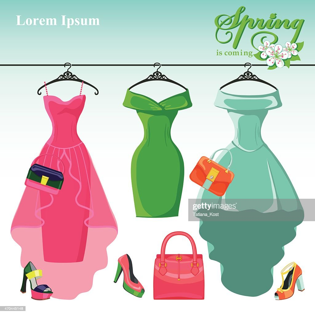 Three spring  dresses on a hanger.Fashion illustration
