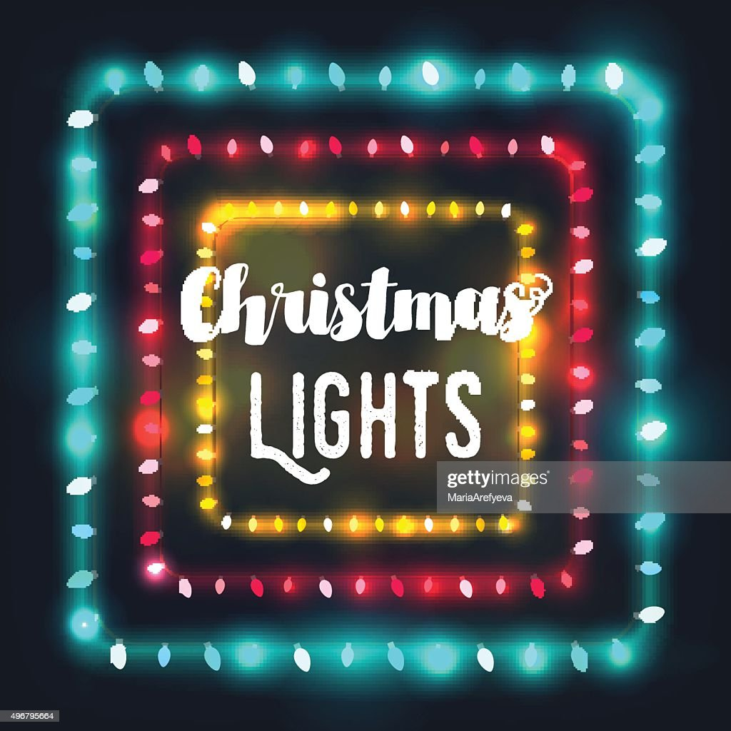 Three square Christmas light borders of different colors for holidays