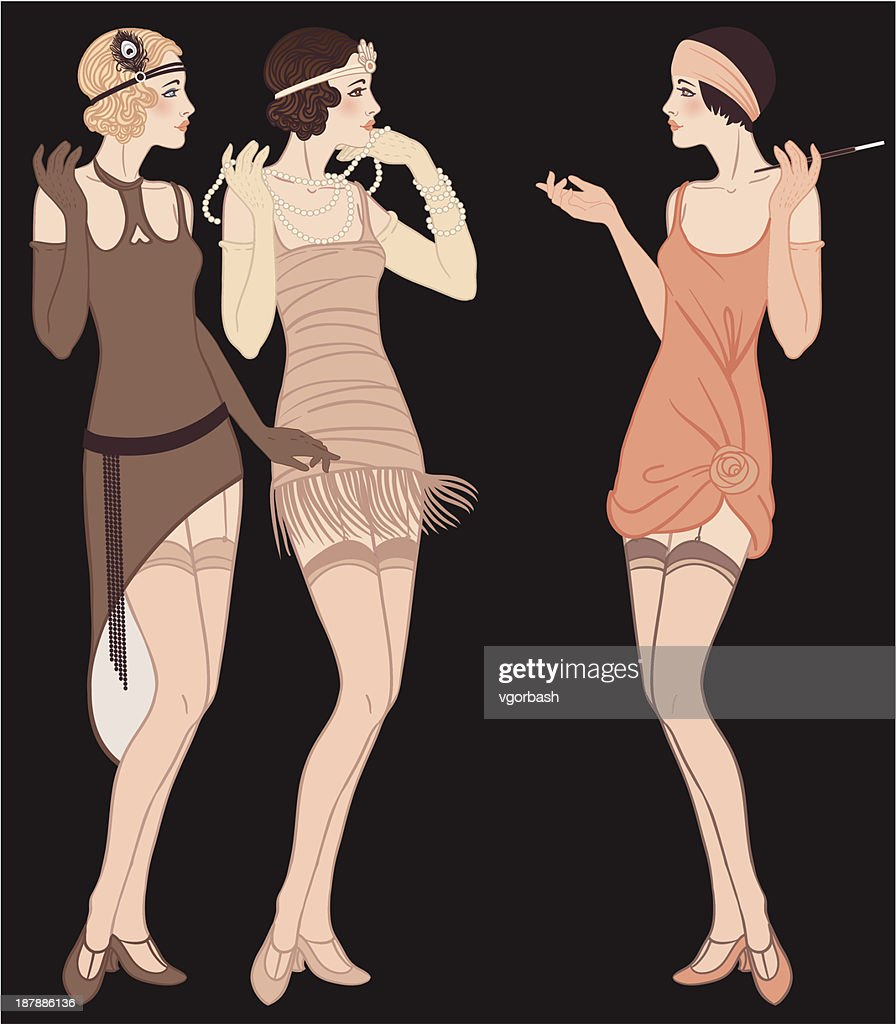 Three standing talking flapper girls (20's style): Retro fashion party