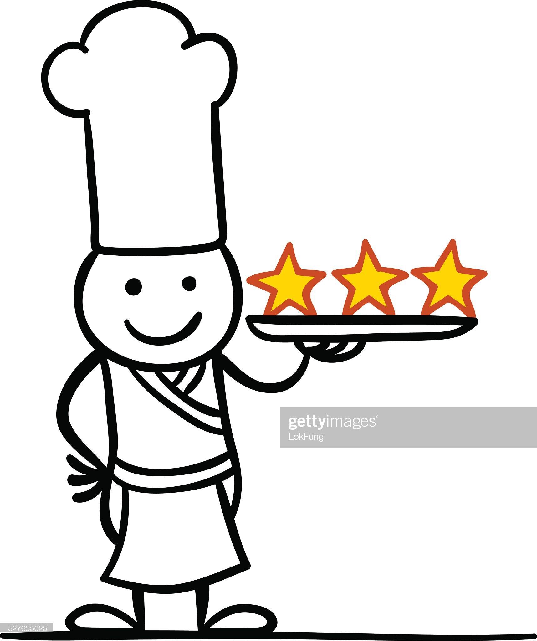 Tre stelle chef : Illustrazione stock