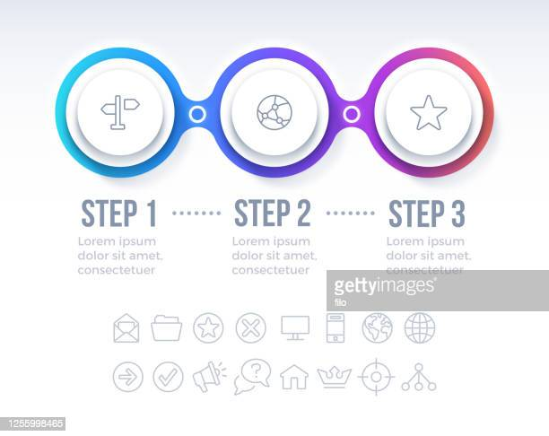 three step circle progress infographic design - three objects stock illustrations