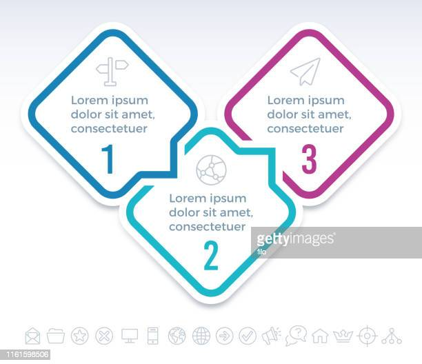 three step infographic speech bubbles - three objects stock illustrations