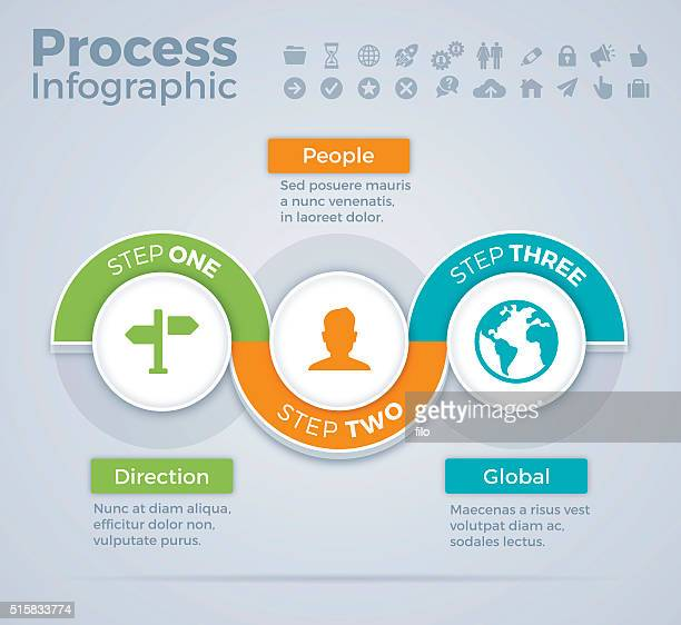 three step process infographic - three objects stock illustrations
