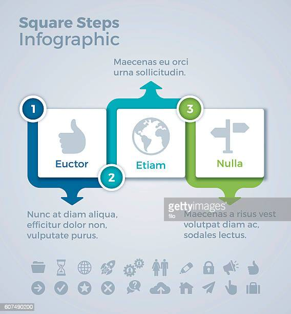 Three Step SSquares Infographic Concept