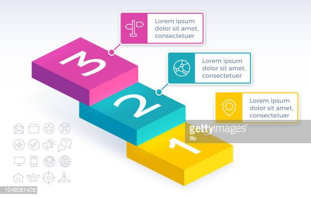 three step stairs infographic - three objects stock illustrations