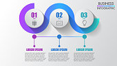 Three steps business infographics modern creative step by step can illustrate a strategy, workflow or team work.