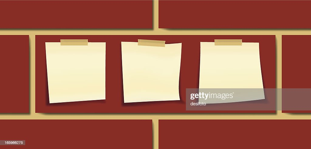 Three sticky notes on a wall