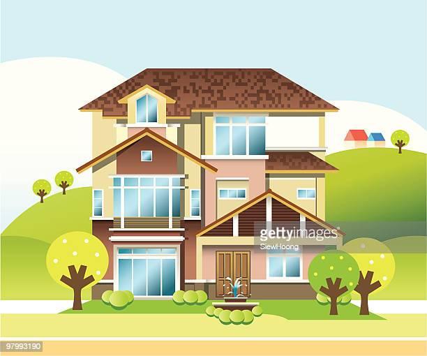 three storey bungalow - bungalow stock illustrations, clip art, cartoons, & icons