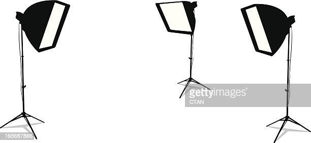 Three studio lamps isolated in a white background