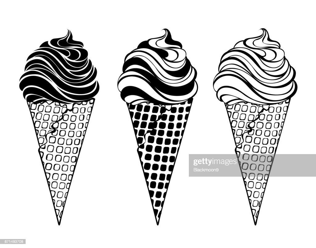 three stylized ice cream