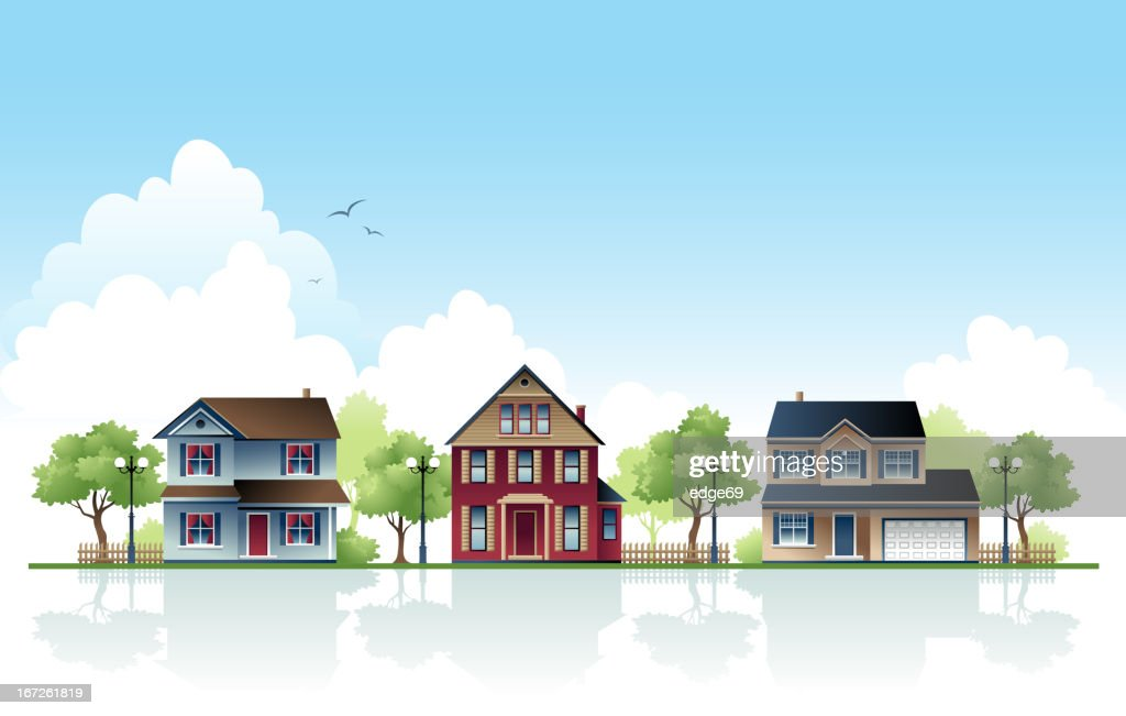 Three Suburban Houses in a Row During Day : stock illustration