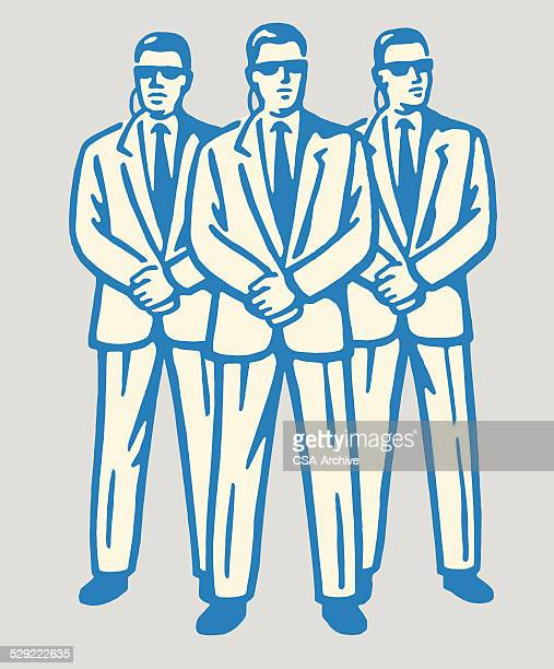 three suited men working secret service security - central intelligence agency stock illustrations