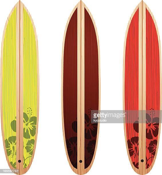 illustrations, cliparts, dessins animés et icônes de trois planches de surf - planche de surf