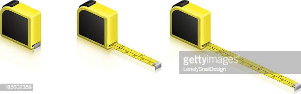 three tape measures - inch stock illustrations