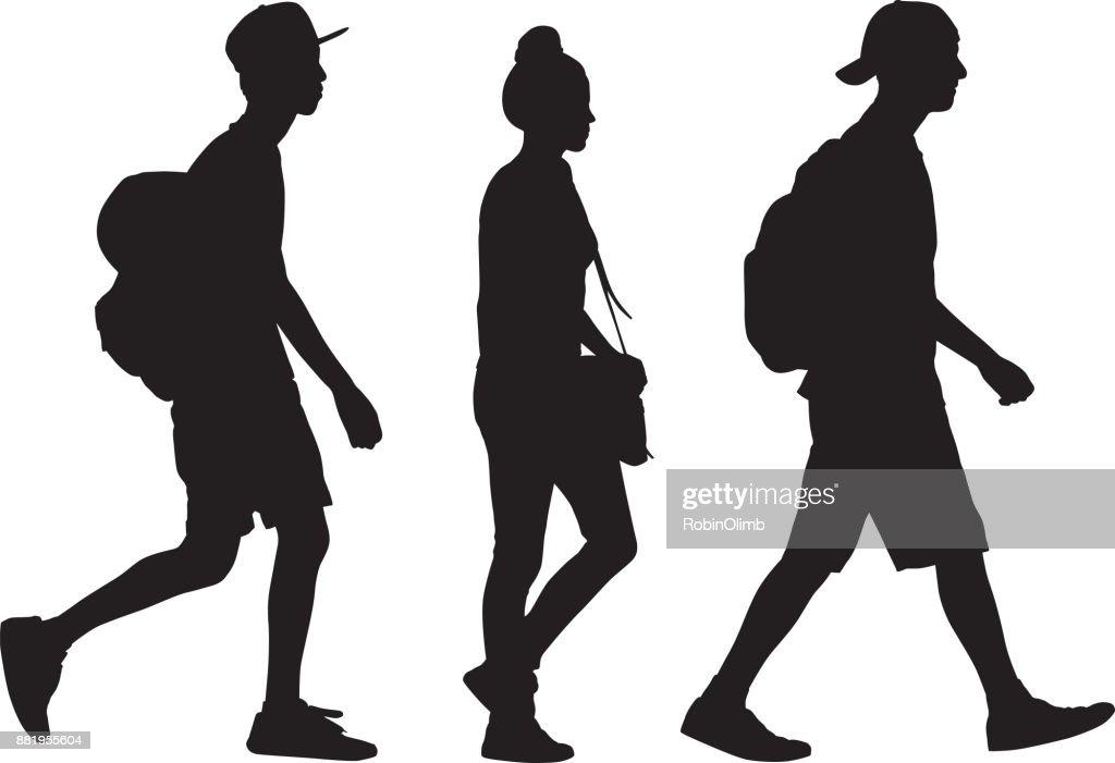 Drei Jugendliche zu Fuß Silhouette : Stock-Illustration