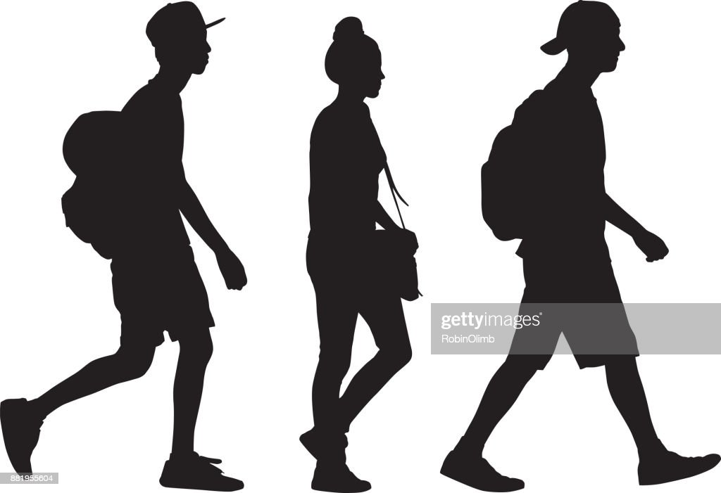 Three Teens Walking Silhouette