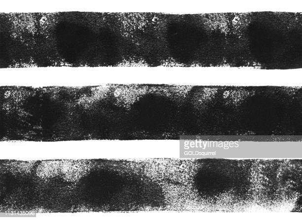three thick black horizontal lines painted carelessly by paint roller and thick black acrylic paint - seamless abstract pattern on white paper background with visible transparency uneven paint application dots and spots - artwork in vector - ink stock illustrations, clip art, cartoons, & icons