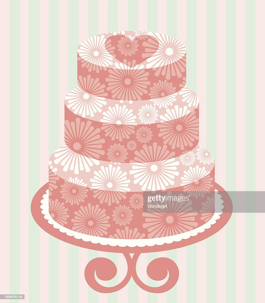Three Tiered Floral Wedding Cake Vector Art | Getty Images