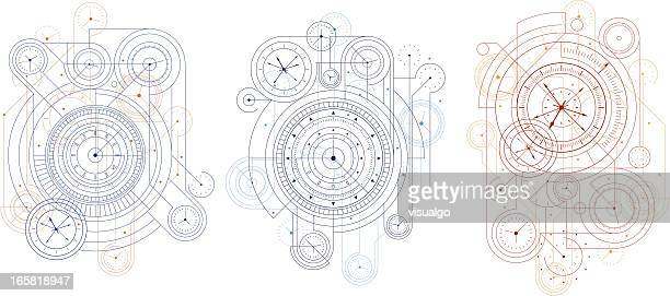 three time design blueprints on white background - machine part stock illustrations
