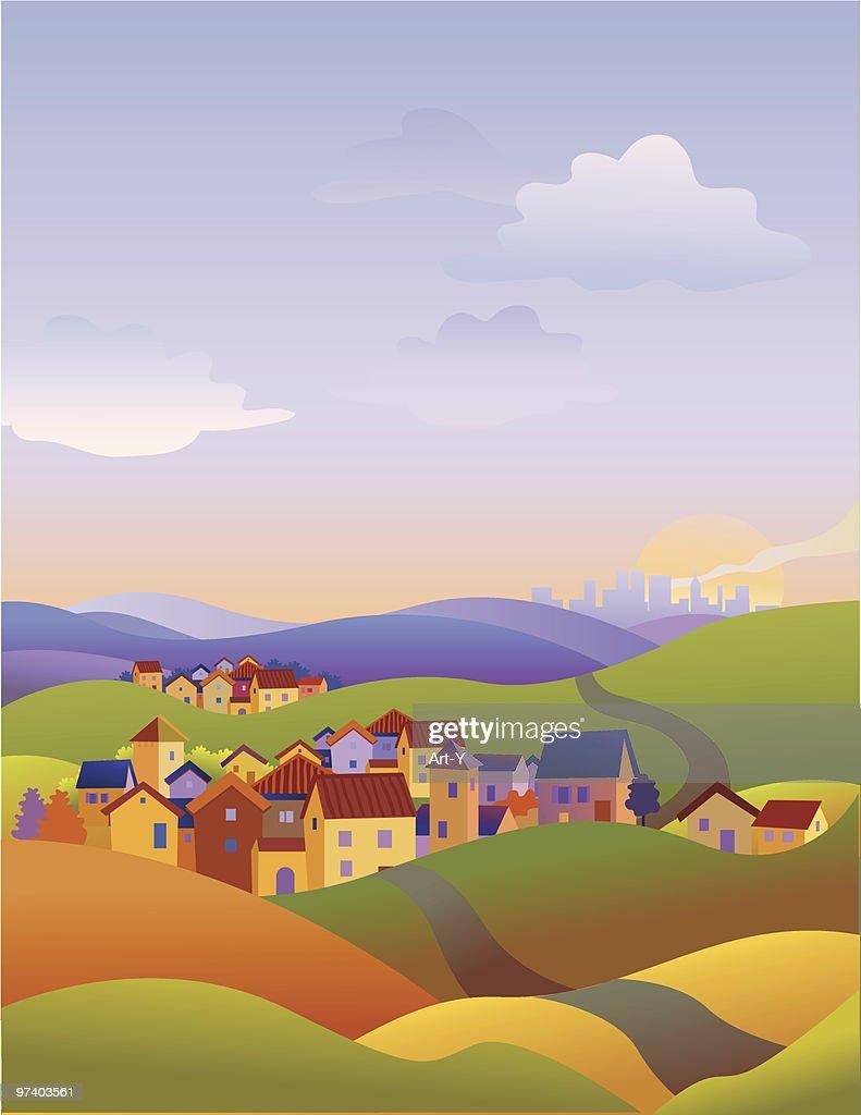Three towns : stock illustration