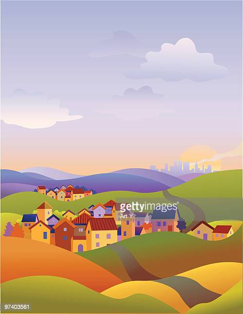 three towns - town stock illustrations