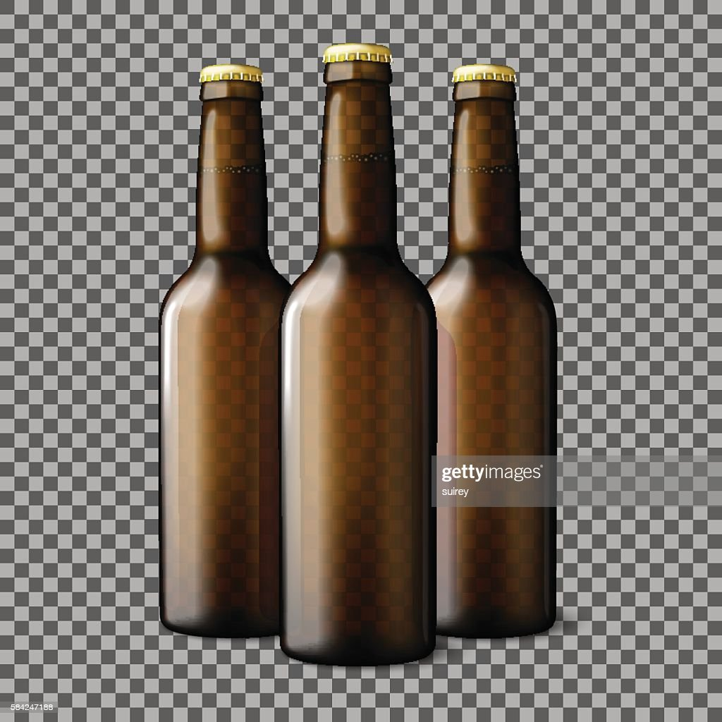 Three transparent brown realistic beer bottles isolated on plaid background