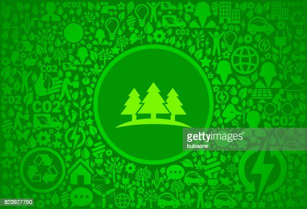 Three Trees Environment Green Vector Icon Pattern