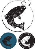 Three trout fish icons in different colors