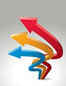 Three upward arrows