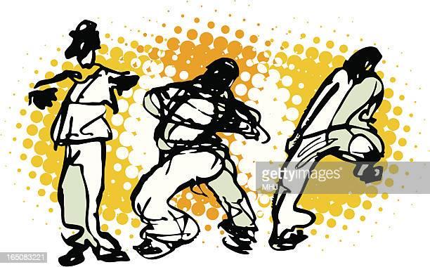 ilustraciones, imágenes clip art, dibujos animados e iconos de stock de urbana tres bailarines sobre naranja - baile moderno