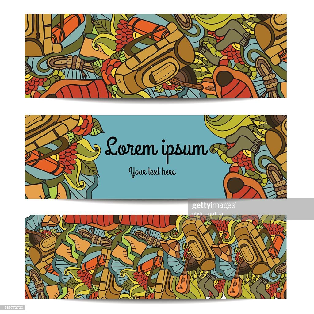 Three vector banners with Recreation. Tourism and camping in doodle