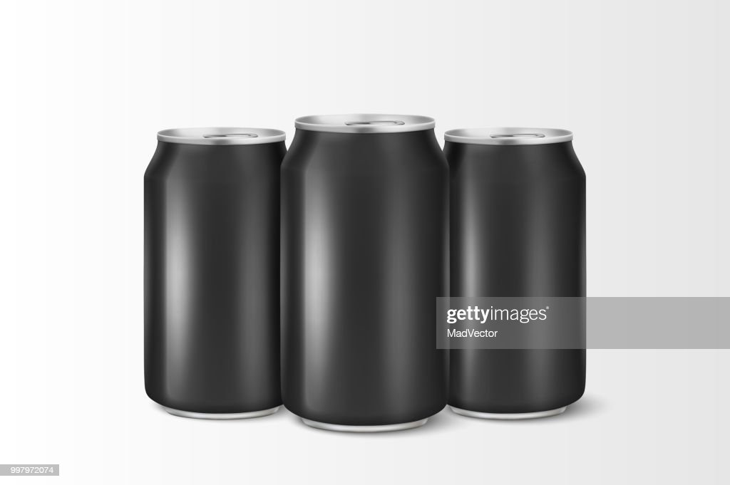 Three vector realistic 3d empty glossy metal black aluminium beer pack or can visual 330ml. Can be used for lager, alcohol, soft drink, soda, fizzy pop, lemonade, cola, energy drink, juice, water etc. Closeup isolated on white background. Design template