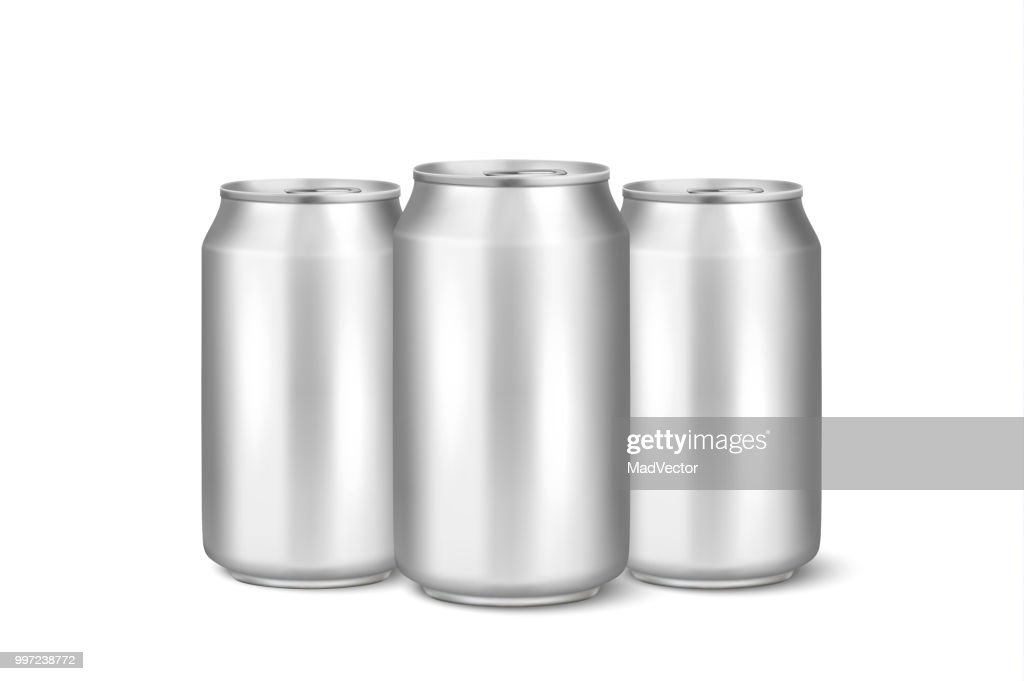 Three vector realistic 3d empty glossy metal silver aluminium beer pack or can visual 330ml. Can be used for lager, alcohol, soft drink, soda, fizzy pop, lemonade, cola, energy drink, juice, water etc. Closeup isolated on white background. Design template