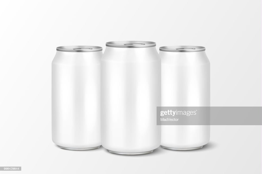 Three vector realistic 3d empty glossy metal white aluminium beer pack or can visual 330ml. Can be used for lager, alcohol, soft drink, soda, fizzy pop, lemonade, cola, energy drink, juice, water etc. Closeup isolated on white background. Design template