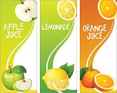 Three vertical banners with apple, leon and orange fruits. Cartoon