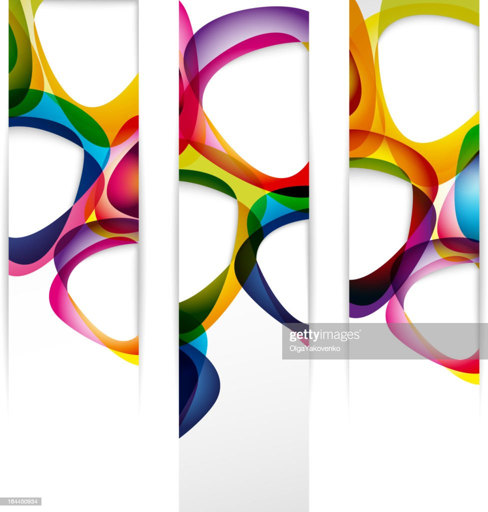 Three vertical banners with colorful abstract pattern
