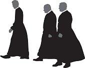 Three Walking Priests Silhouette