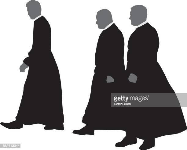 3 歩く司祭シルエット - 司祭点のイラスト素材/クリップアート素材/マンガ素材/アイコン素材