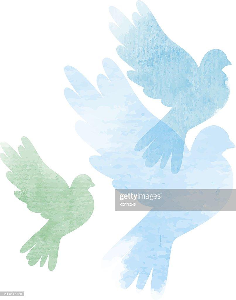 Three watercolor doves