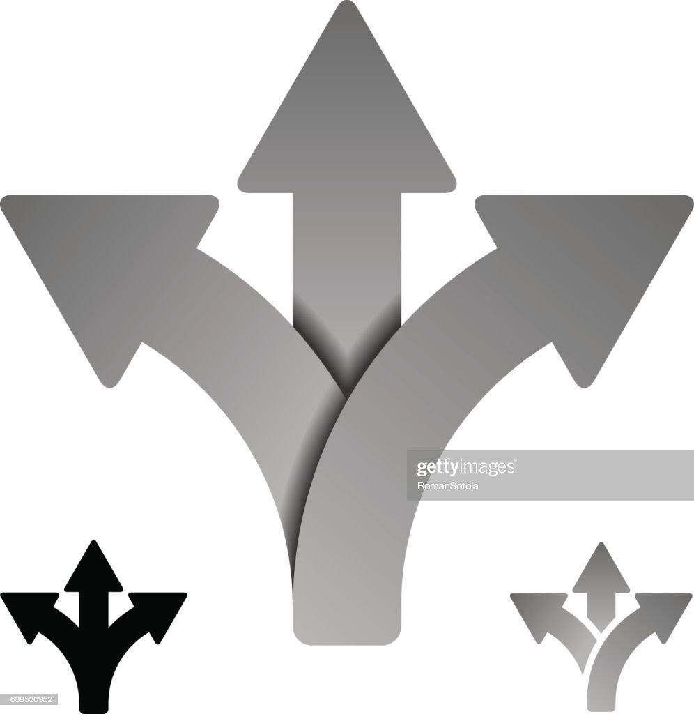 three way direction arrow symbol vector