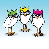 Three White Chicks Wearing Party Hats and Black Round Spectacles
