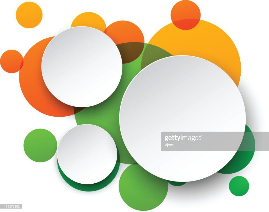 Three white circles on top of green and orange circles