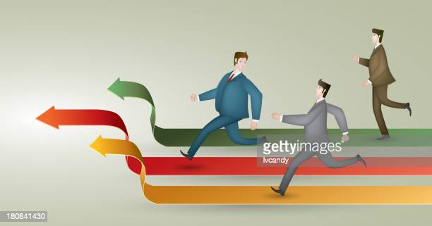 three white collars in the race - competitive sport stock illustrations, clip art, cartoons, & icons