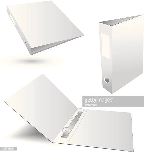 three white plain binders in various positions - files stock illustrations, clip art, cartoons, & icons