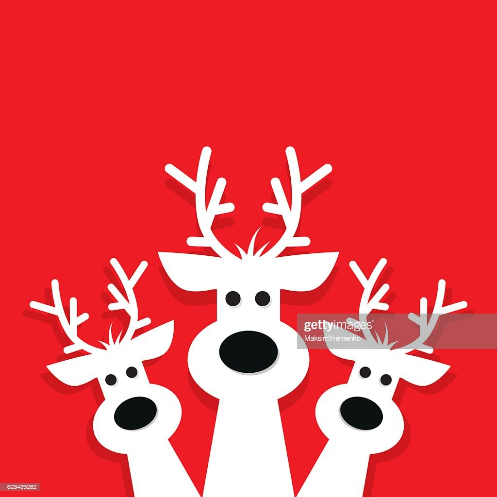 three white reindeer on a red background.