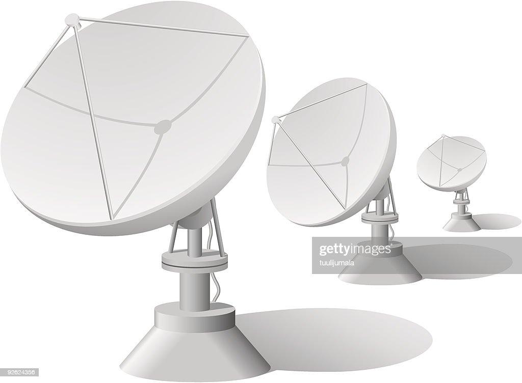 Three white satellite dishes on a white background