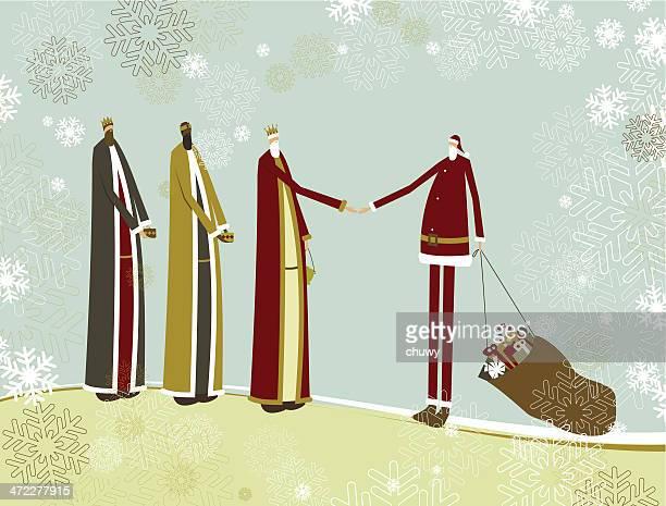 ilustraciones, imágenes clip art, dibujos animados e iconos de stock de tres reyes magos y santa - los tres reyes magos