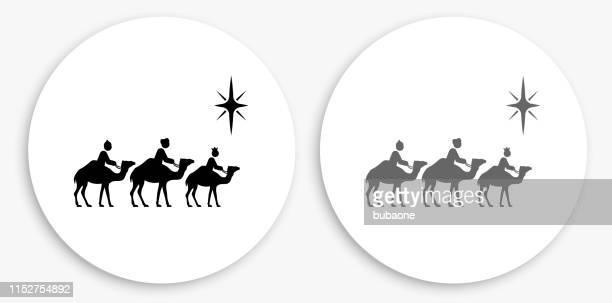 ilustraciones, imágenes clip art, dibujos animados e iconos de stock de tres hombres sabios icono redondo negro y blanco - los tres reyes magos
